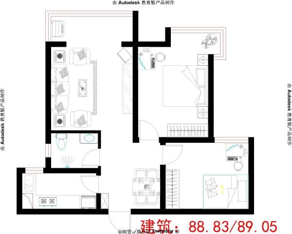 此户型结构较合理,各个房间方正完整. 空间利用率高,有利于长期的家居生活.