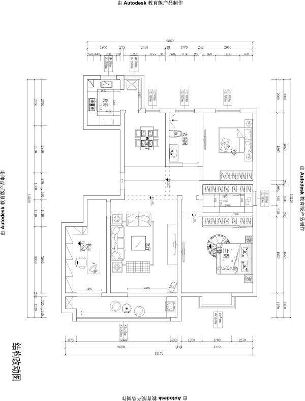 财经政法大学 125平三居室 美式风格装修 设计案例-平面布局图