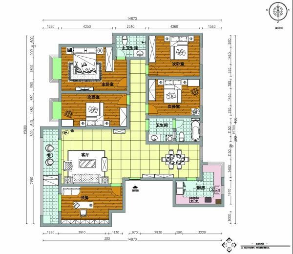 天地湾四期 139平三居室装修 简约风格设计案例 -平面布置图