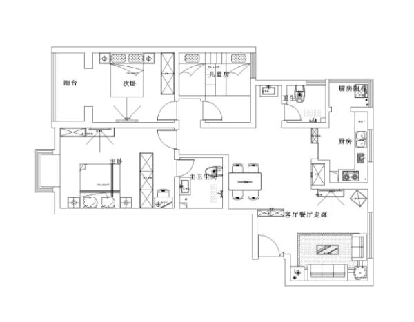 理念大块的木地板,长方形的大边吊拉伸了整个房子的空间,是整个房间看起来很有层次感,非常大气。