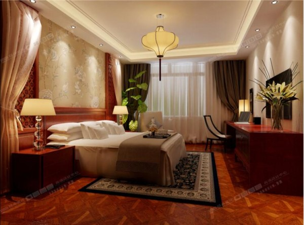 选用素色寝具,打造舒适的入睡环境。床头背景墙的淡雅花朵图案和复古吊灯更显优雅。