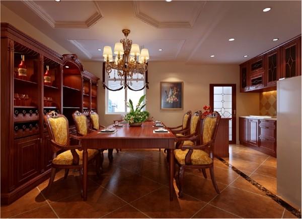 厨房敞开式的设计加上整体橱柜,整排酒柜以及加长版的餐桌,无处都不在显示它的大气.庄重