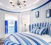 主卧室是二层的重点区域,设计师把卧室空间也处理成弧形的,一张大大的圆床让所有参观者都眼前一亮。蓝白条纹的床品与墙面壁纸形成了统一,让空间显得非常清新。