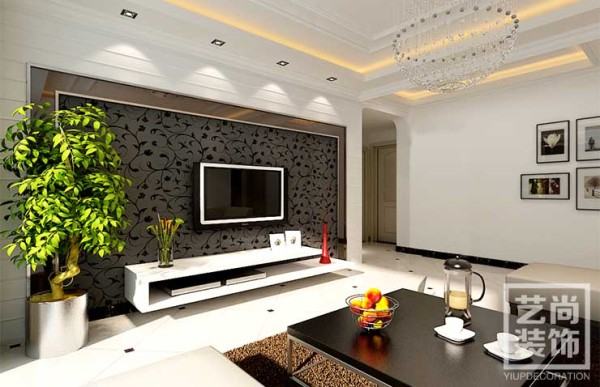 祈福尚都90平方两室两厅样板间现代简约风格装修,客厅效果图