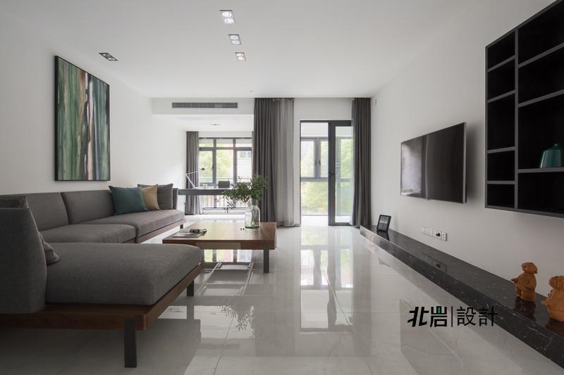 北岩设计 顶墅施工 阳光聚宝山 黑白调 三居 客厅图片来自北岩DESIGN在律动的分享