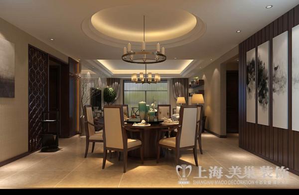 正商城四室两厅140平米样板房新中式风格装修案列——餐厅视角效果图