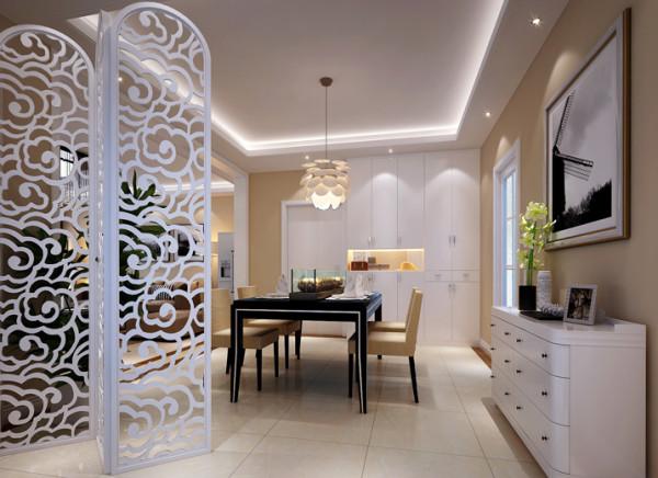 实用简单式餐厅设计理念:简单的镂空屏风把餐厅也客厅隔开,划分出专属于餐厅的区域,墙壁边的一排柜子,使餐厅即实用又时尚。