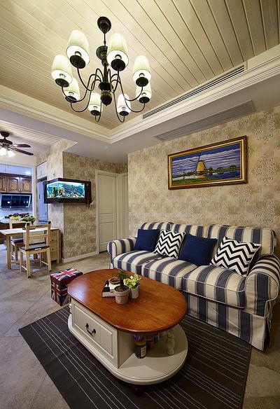 客厅图片来自家装大管家在情迷地中海 98平休闲时尚家的分享