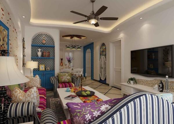 首先在色彩上,主色调为地中海风最具代表的蓝白色,散发出异域风情的地中海风格的蓝色拱门,富有节奏的地中海风格装修常用的条纹与网格元素。