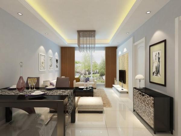 地面采用暖色地砖,墙面涂刷淡蓝色的墙漆,配以黑色烤漆材质的家具,突显现代风格的特点。