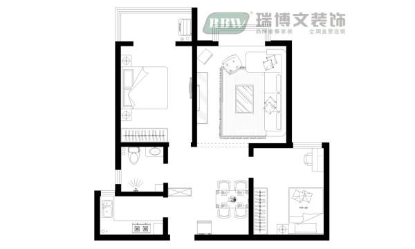 缺点:1、入户门正对卧室门       2、考虑冰箱位置  优点:1、卧室分布合理,整个户型的采光效果非常好       2、进门厨房,功能布局合理