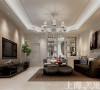 意墅蓝山200平四室两厅装修简欧风格效果图——客厅全景