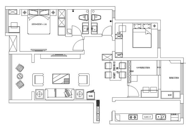 郑州正商城5号楼128平三室两厅现代简约装修案例样板间——户型平面图