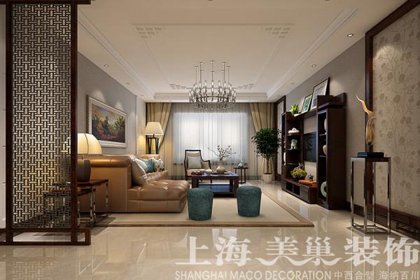 郑州市规划局家属院装修样板间效果图——180平4室2厅居室户型客厅全景设计