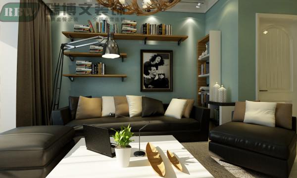 轻装修重装饰,顶面减去所有繁琐造型,石膏线简单点缀,配上蓝色墙漆让整个空间更加简洁,配上软装的设计,让整个空间呈现给人的感觉为低调的奢华。