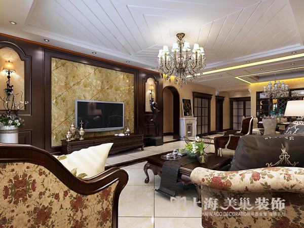 郑州蓝堡湾装修效果图赏析四室两厅160平户型案例鉴赏——客厅样板间效果图电视背景墙设计