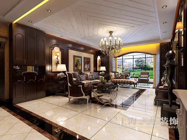 郑州蓝堡湾装修效果图鉴赏160平四室两厅户型案例美式乡村风格设计案例——客厅样板间全景效果图