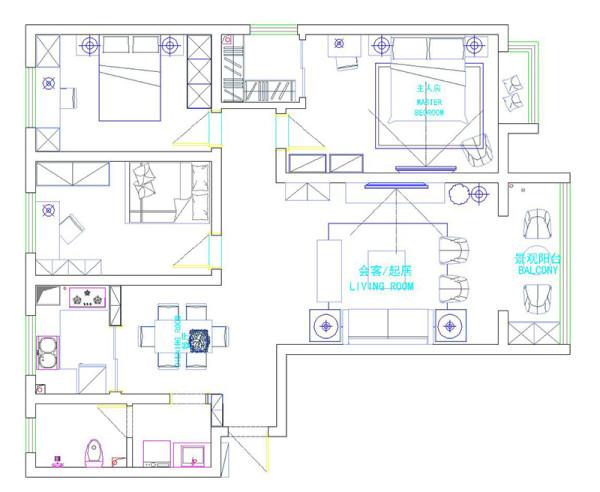 郑州怡馨家园2号楼138平三室两厅美式乡村装修案例——户型平面布局