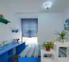 90平米浪漫蓝白地中海三室