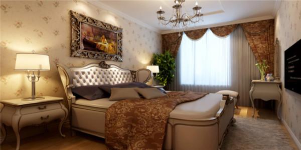 在卧室安排上,古典美突出的恰到好处,且暖黄色的古典花纹元素带动整体风格的彰显。