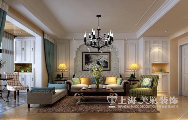 绿地老街110平两室两厅简美样板间装修效果图——沙发布局