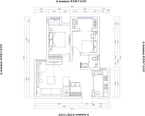 郑州金域上郡装修案例两室两厅89平居室户型设计——平面布局图