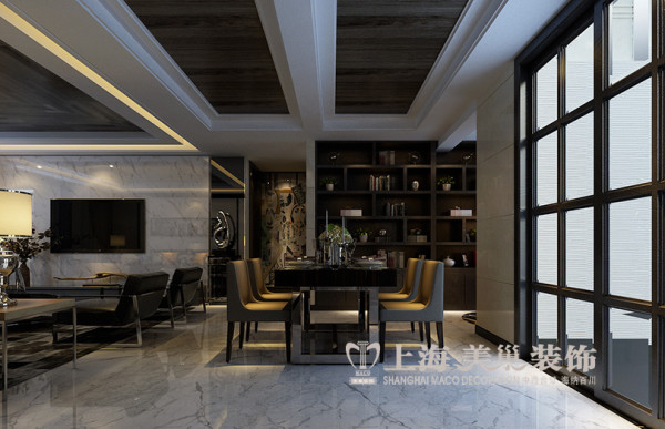 郑州永威五月花城3室2厅装修效果图赏析现代简约风格设计案例——餐厅设计