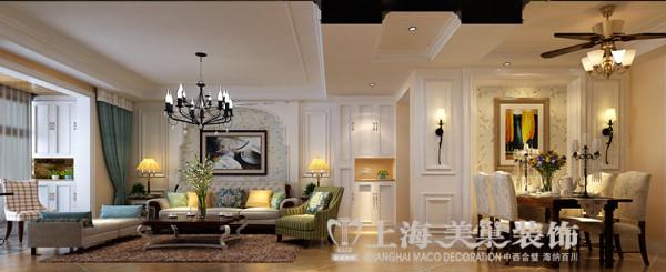 绿地老街简美两室两厅装修效果图110平案例——客餐厅效果图
