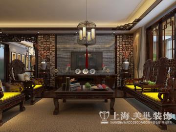 锦棠160平方三室两新中式装修风