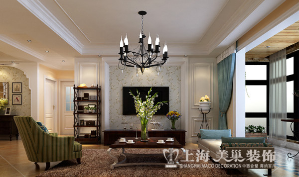 绿地老街110平两室两厅装修简美效果图案例——电视背景墙