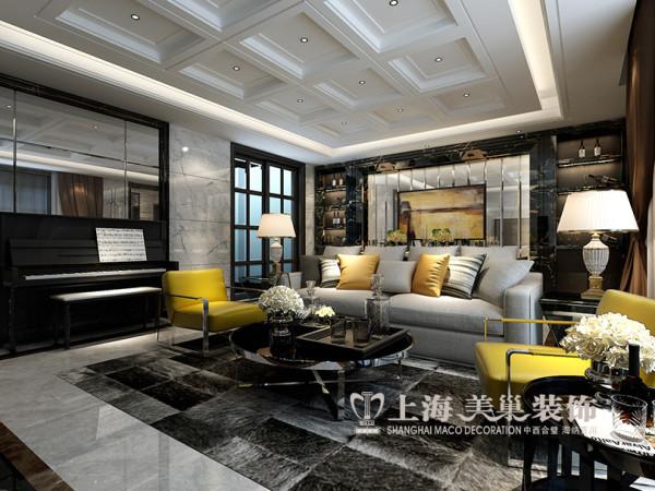 紫荆尚都装修效果图赏析现代简约风格设计案例——客厅样板间沙发背景墙布局