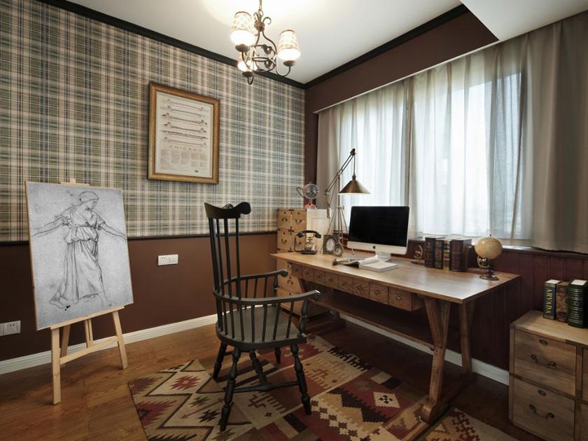 美式 现代 三居 家装 书房图片来自南京实创装饰夏雨荷在金域蓝湾150平美式清新的分享