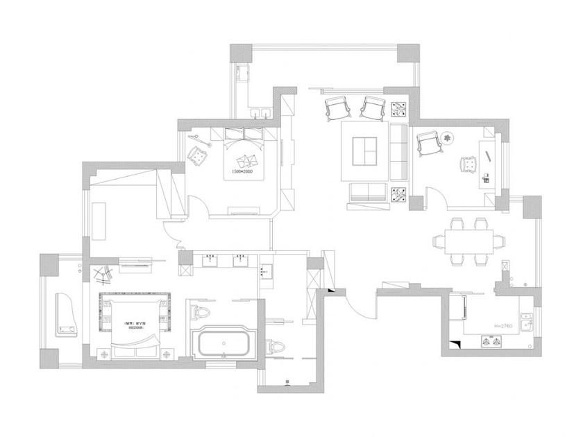美式 现代 三居 家装 户型图图片来自南京实创装饰夏雨荷在金域蓝湾150平美式清新的分享