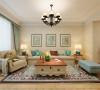 客厅沙发墙面装修设计展示效果,布艺的沙发搭配上具有民俗色彩的地毯,非常有美式乡村气息