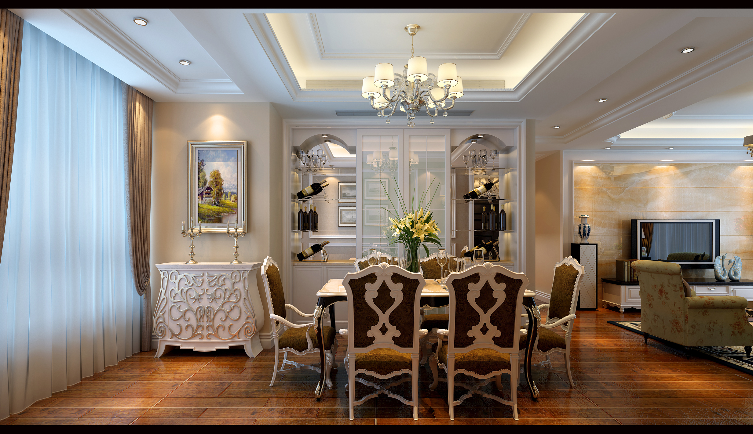 三居 白领 收纳 简约 餐厅图片来自合肥生活家在生活家装饰中铁滨湖名邸简欧风格的分享