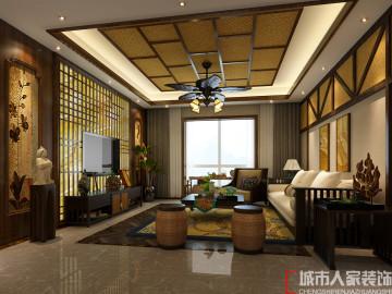 西安城市人家四居室东南亚风格
