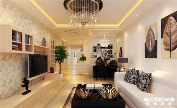 客厅的吊棚看起起来使客厅更加明亮与舒适,简约的电视背景墙铺满整个墙面,使整个客厅彰显的更加的大气。 墙面的柜子与沙发背景墙的柜子相呼应,满足了储物与软装的需求,也使得空间更加现代