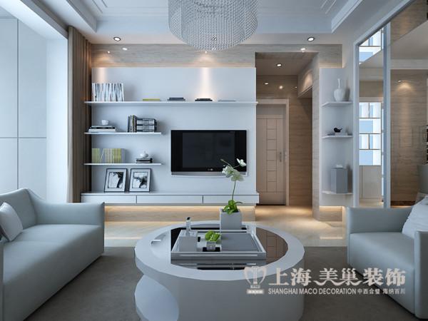商丘香樟公馆装修效果图鉴赏现代简约风格设计——两室两厅户型96平居室电视背景墙布局