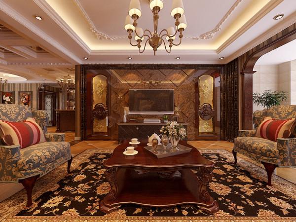 客厅电视墙装修设计效果展示,客厅顶部做回字形灯池降低房高,中间用花线在修饰一下,整体更显内容丰富。