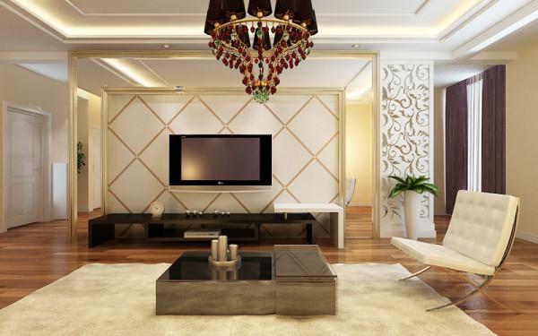 东胜紫御府三室两厅两卫-178平米户型现代风格装修设计效果图。电视墙简单石膏线拉缝处理。