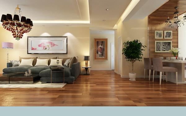 入户门位置看客厅、走廊、餐厅的整体设计效果