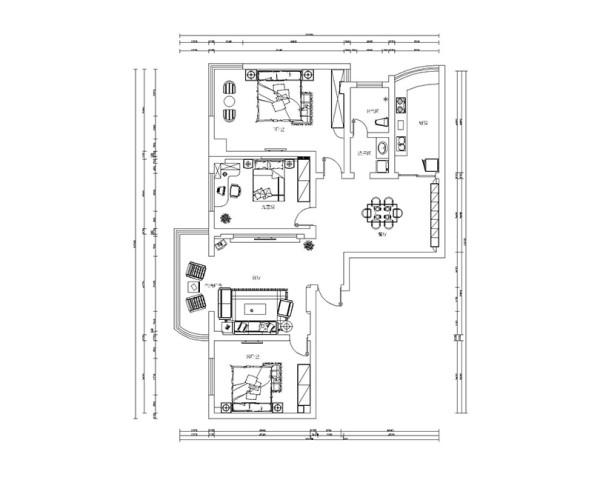 工会家属院装修案例平面户型布局方案图——三室两厅160平户型案例
