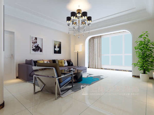 工会家属院装修三室两厅160平户型效果图——客厅沙发背景墙设计