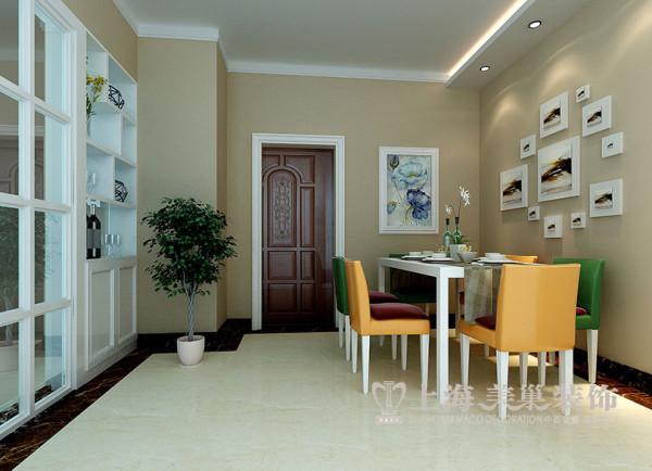 商丘上海都市花园3室3厅装修现代样板间案例——餐厅全景效果图