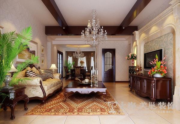 洛阳世府名邸3室2厅装修简欧样板间145平效果图——客餐厅布局全景