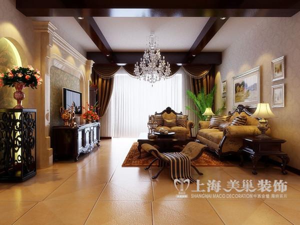 世府名邸简欧装修145平三房案例效果图——客厅全景布局