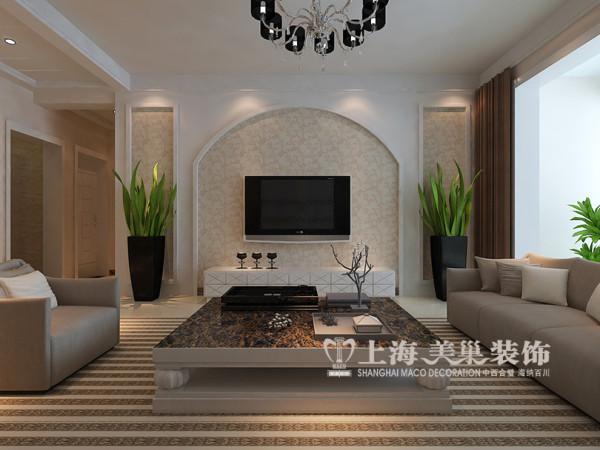 郑州东方银座装修效果图现代简约风格装修设计——客厅样板间装修电视背景墙设计