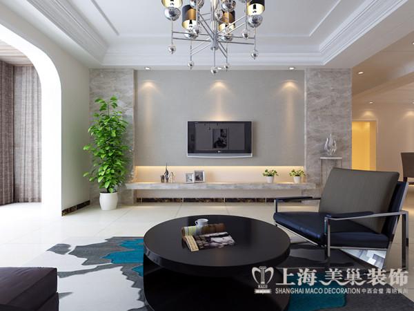 郑州省工会家属院装修效果图现代简约风格解析——三室两厅160平户型客厅电视背景墙设计