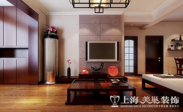 洛阳名仕嘉园装修简约中式风格设计效果图——两室两厅100平客厅电视背景墙设计