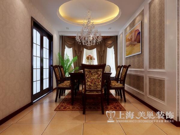 世府名邸装修案例简欧三居室145平效果图——餐厅全景效果图